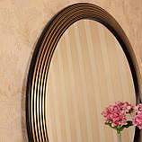 Зеркало круглое черное с золотом в прихожую/ Диаметр 690мм /Круглое зеркало в ванную/Код MD 1.1/2, фото 6
