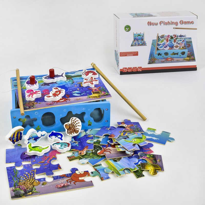 Деревянная игра Рыбалка 3в1 С 39338 (24) сортер, с пазлами, в коробке
