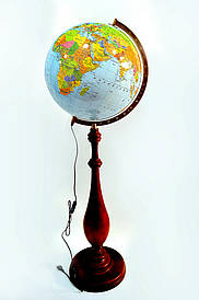 Глобус з підсвічуванням 420 мм політико-фізичний на дерев'яній ніжці (рос.) BST 540159