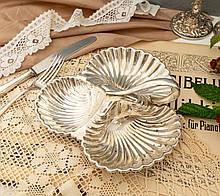 Вінтажна посріблена менажниця з трьох черепашок сріблення, мельхіор, Англія