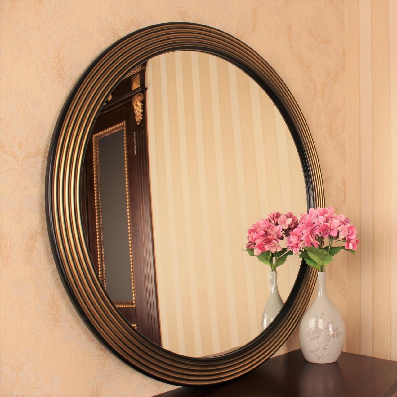 Зеркало круглое черное с золотом в прихожую/ Диаметр 690мм /Круглое зеркало в ванную/Код MD 1.1/2