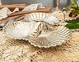 Винтажная посеребренная менажница из трех ракушек серебрение, мельхиор, Англия, фото 4