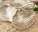 Винтажная посеребренная менажница из трех ракушек серебрение, мельхиор, Англия, фото 2