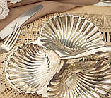 Винтажная посеребренная менажница из трех ракушек серебрение, мельхиор, Англия, фото 3