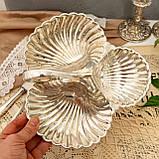 Винтажная посеребренная менажница из трех ракушек серебрение, мельхиор, Англия, фото 7