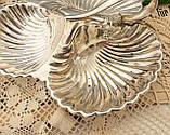 Винтажная посеребренная менажница из трех ракушек серебрение, мельхиор, Англия, фото 8