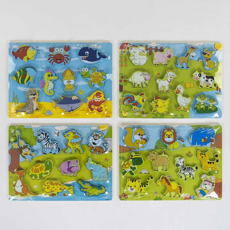 Деревянная рамка-вкладыш Животные С 39072 (60) 4 вида