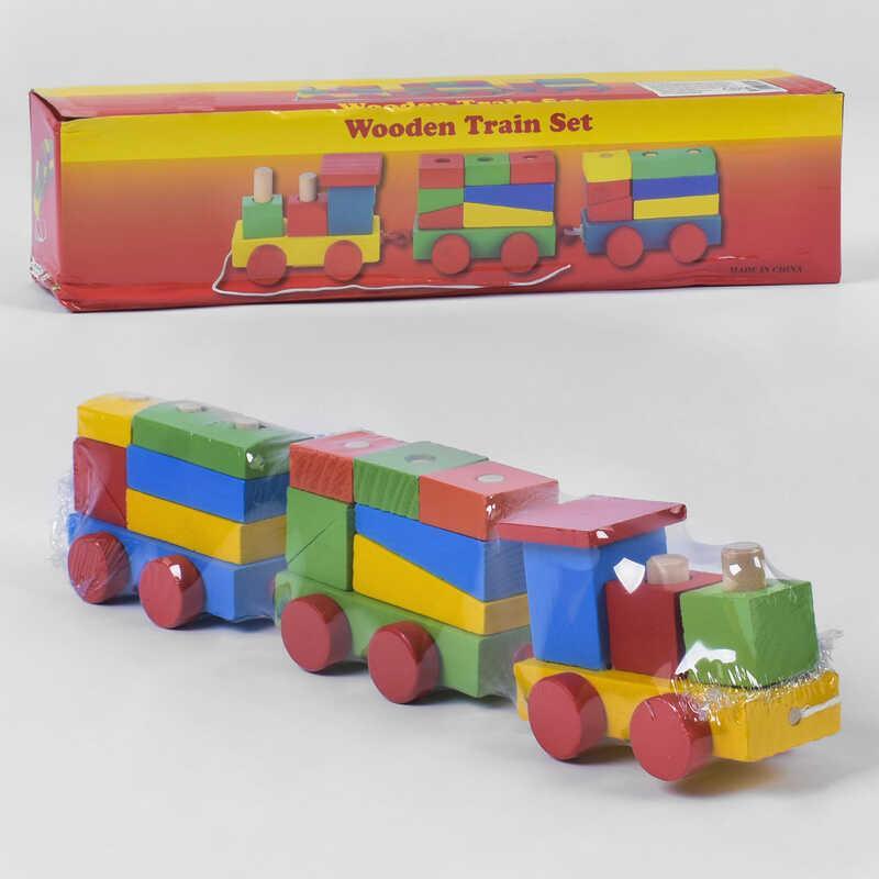 Деревянный конструктор Поезд С 39264 (80) в коробке