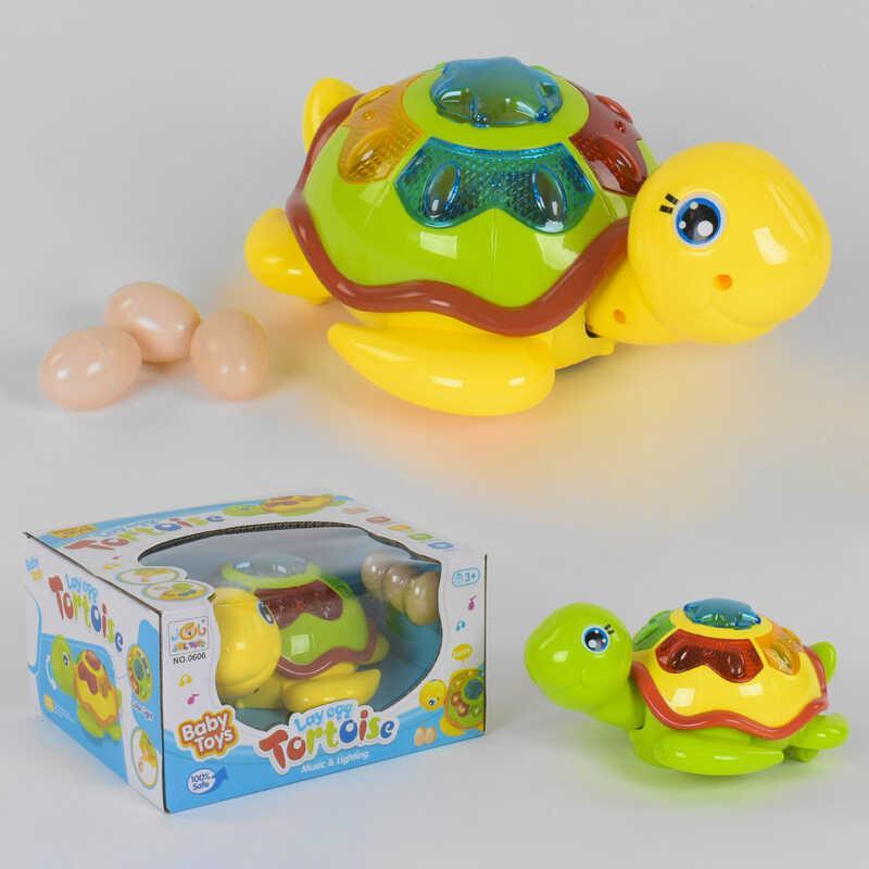 Черепаха музыкальная 0606 (48/2) 2 вида, подсветка, ездит, откладывает яйца, на батарейке, в коробке