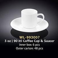 Чашка кофейная с блюдцем (Wilmax, Вилмакс, Вілмакс) WL-993007