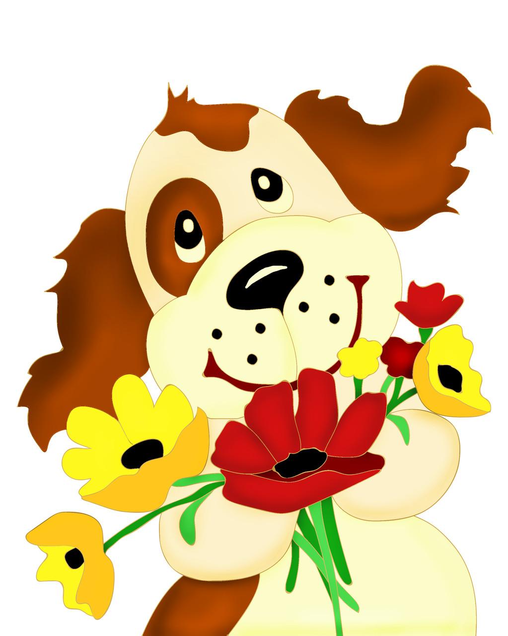 Картина по номерам ArtStory Пёсик с цветами 20*25см