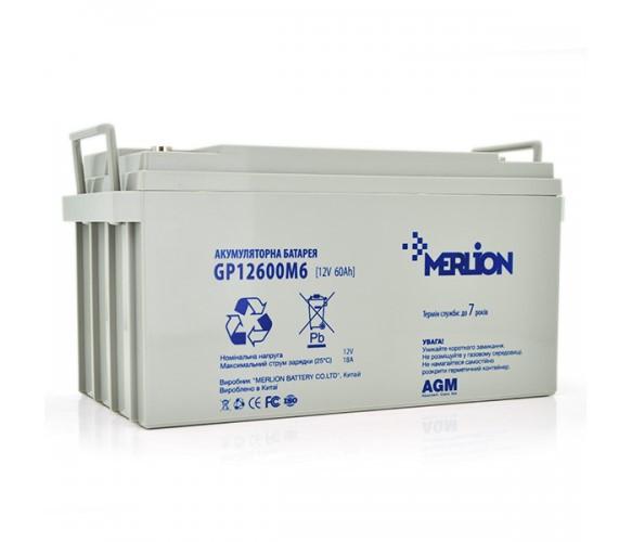 Аккумулятор AGM - 60 Ач, 12 В гелевый Merlion GP12600M6 Q1