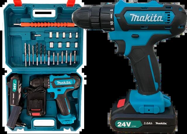 Шуруповерт Makita 550 DWE (24V, 5 AH) с набором инструментов. Аккумуляторный шуруповёрт Макита 550 Дрель