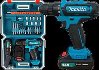 Шуруповерт Makita 550 DWE (24V, 5 AH) с набором инструментов. Аккумуляторный шуруповёрт Макита 550 Дрель, фото 1