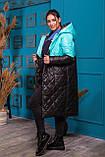 Удлиненная зимняя куртка  женская Стеганная плащевка на синтепоне Размер 48 50 52 54 Разные цвета, фото 9