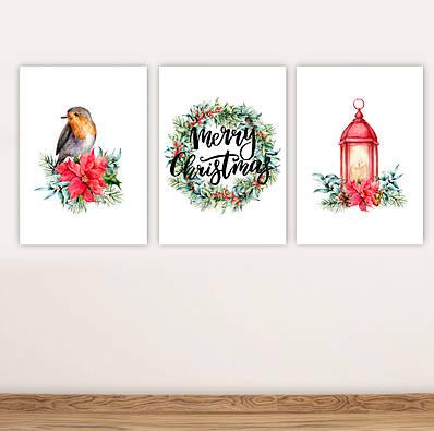Набір новорічних плакатів Christmas Decor плакат формату А3