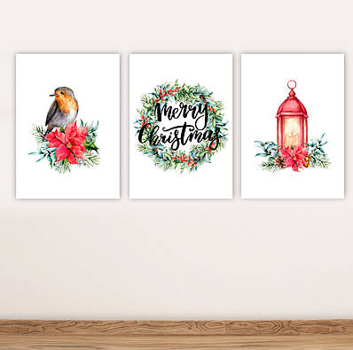 Набор новогодних плакатов Christmas Decor плакат формат А3