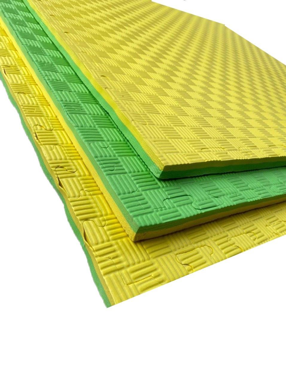Мат татами ласточкин хвост 1000х1000х20мм EVA желто-зеленый