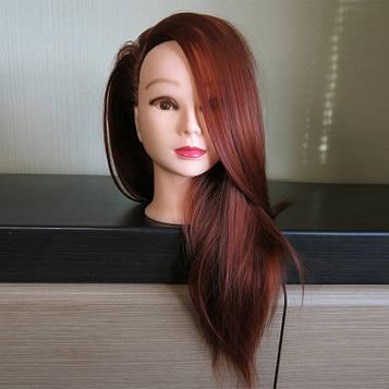 Голова учебная для парикмахеров. Рыжие волосы 60 см.