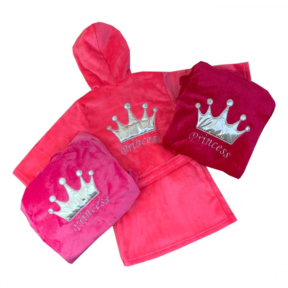 """Махровый детский халат на запах с капюшоном """"Princess"""" р. 26-34"""