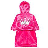 """Махровый детский халат на запах с капюшоном """"Princess"""" р. 26-34, фото 2"""