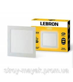 Светодиодный LED светильник LEBRON L-PR-1841, 18W, 225 * 225мм * 19мм, 4100K, 1260LM, врезной, яркий свет