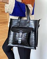 Женская сумка черная средняя классическая с карманом повседневная квадратная под рептилию экокожа, фото 1