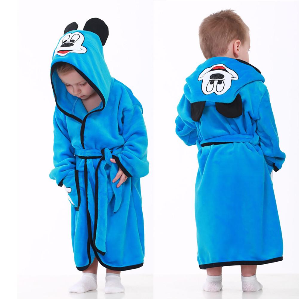 """Махровый детский халат для мальчика на запах с капюшоном """"Mouse"""" р. 26-34"""