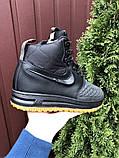 Nike Lunar Force 1 Duckboot  зимние мужские кроссовки темно-синие на меху, фото 3