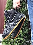 Nike Lunar Force 1 Duckboot  зимние мужские кроссовки темно-синие на меху, фото 5