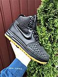 Nike Lunar Force 1 Duckboot  зимние мужские кроссовки темно-синие на меху, фото 6