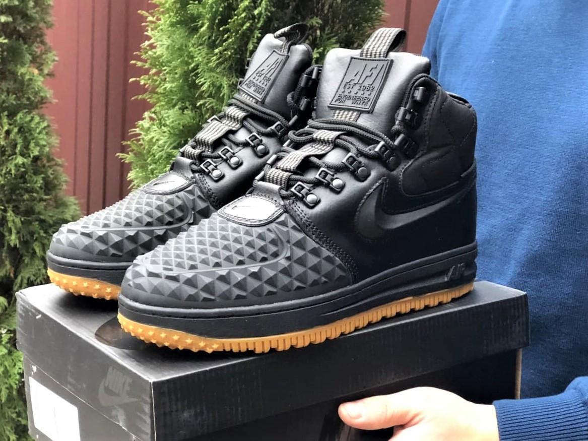 Nike Lunar Force 1 Duckboot  зимние мужские кроссовки темно-синие на меху
