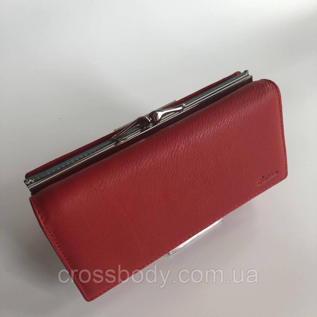 Женский кошелек красный кожа