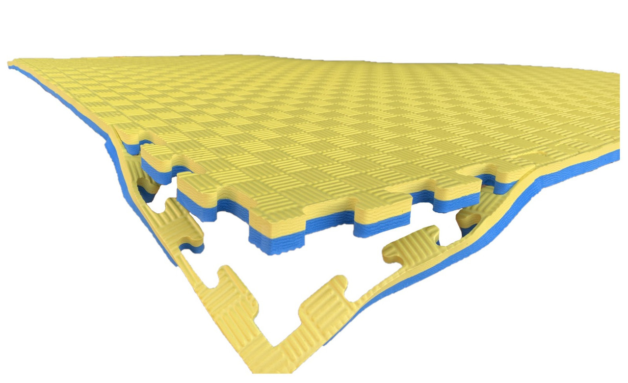 Покрытия для детской комнаты 1000х1000х20мм мат татами ласточкин хвост EVA желто-синий