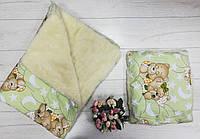 Детское одеяло+подушка «Мишки», на овчине