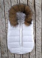 """Конверт для новорожденного c натуральной опушкой """"Snowman"""", фото 1"""