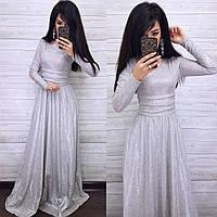 Платье вечернее люрексовое в пол нарядное с расклешенной юбкой и длинным рукавом (р. S, M) 8PL1931