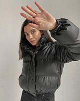 Куртка зимняя короткая из экокожи с воротником стойкой  (р. 42-48) 40KU550, фото 1