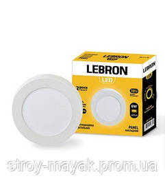 Светодиодный LED светильник LEBRON L-PRS-641, 6W, Ø120 * 36мм, 4100K, 420LM, накладной, яркий свет