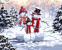 Картина по номерам 40х50 см DIY Семья снеговиков (NX 9504)