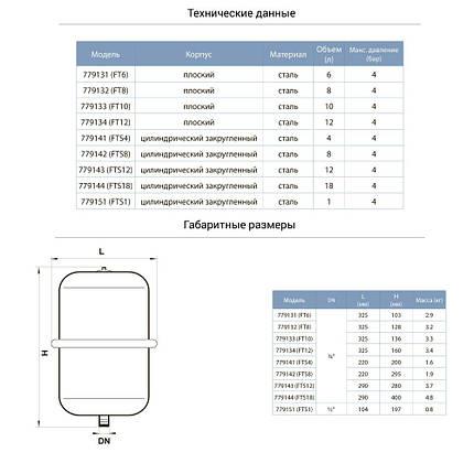 Бак для системы отопления плоский 10л Ø325 AQUATICA (779133), фото 2