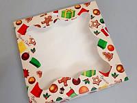 """Коробка для пряника 155*155*30 Новорічна """"Чобіток"""" мелований картон з вікном (плівка ПВХ)"""
