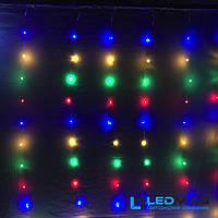 Светодиодная гирлянда штора Капля росы 3*2,5м 425 LED разноцветная с контроллером (17 нитей по 25 светодиодов)