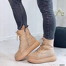 Ботинки женские бежевые, зимние из эко замши. Черевики жіночі теплі бежеві на платформі, фото 3