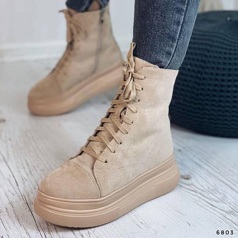 Ботинки женские бежевые, зимние из эко замши. Черевики жіночі теплі бежеві на платформі, фото 2