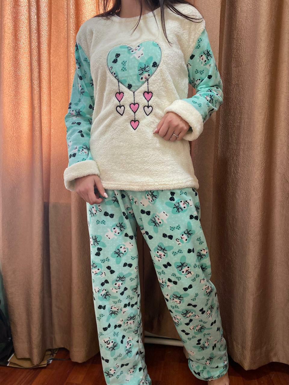Пижама женская белая с голубым утепленная код П210