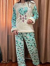 Піжама жіноча біла з блакитним утеплена код П210