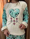 Пижама женская белая с голубым утепленная код П210, фото 2