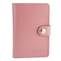 Обложка на документы кожаная на кнопке HC0035 розовая, фото 1