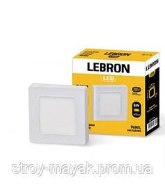 Светодиодный LED светильник LEBRON L-PSS-641, 6W, 120 * 120мм * 36мм, 4100K, 420LM, накладной, яркий свет